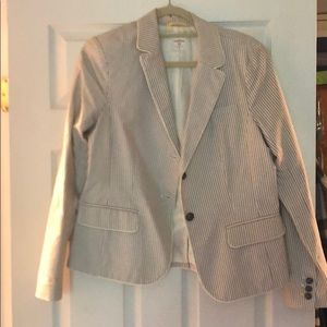 Tan and white stripe blazer